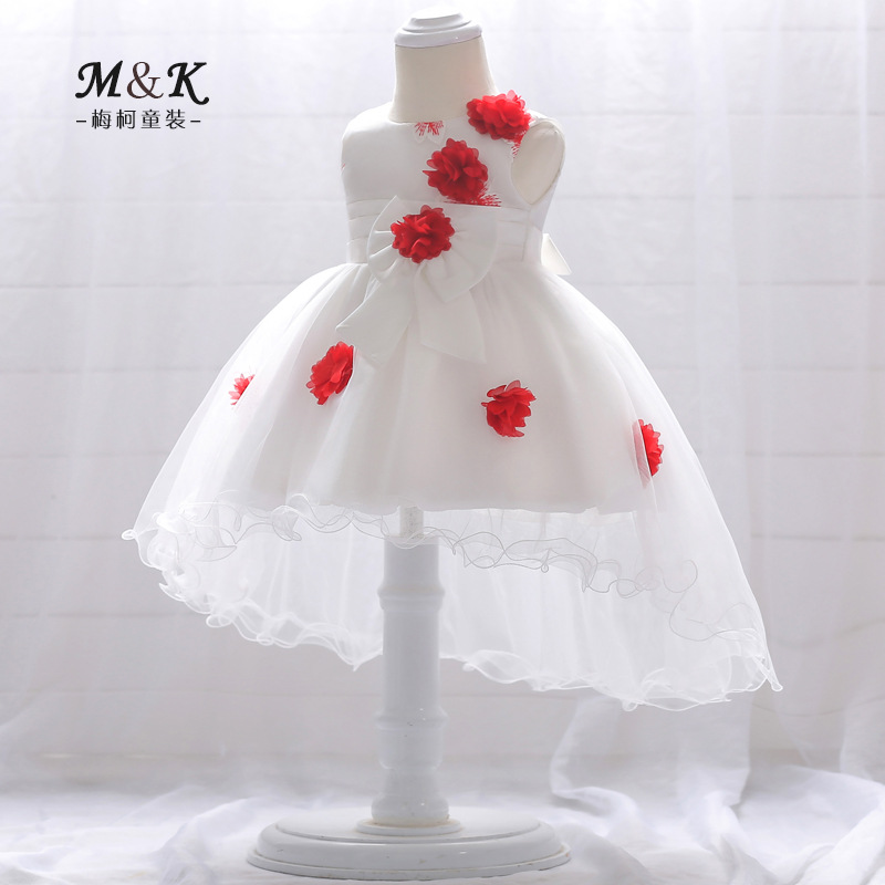2019 New Style 0-3 Years Old Baby Tailing A Year Of Age Formal Dress Embroidery Babies' Dress Handmade Stereo Flower Dovetail Sk