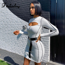 Fitshinling Cut Out Fitness Women Dress Autumn Winter Slim Sexy Long Sleeve Dresses Ladies Striped White Vestidos