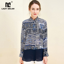 100% Pure Silk Womens Runway Shirts Turn Down Collar Long Sleeves Printed Fashion Shirts Blouse