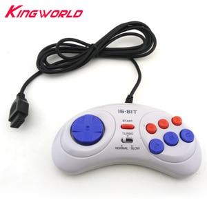 Image 1 - 16 bit Classic Wired Game Controller voor SEGA Genesis 6 Knop Gamepad voor SEGA Mega Drive Modus Snel Langzaam wit