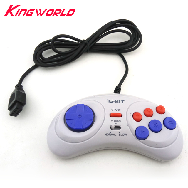 16 bit Classic Wired Game Controller voor SEGA Genesis 6 Knop Gamepad voor SEGA Mega Drive Modus Snel Langzaam wit