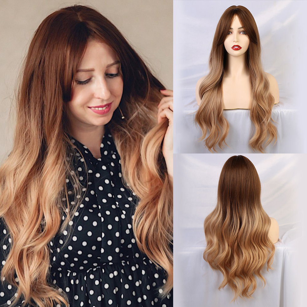 Blonde Unicorn Synthetic Natural Wave Long Hair Wigs With Side Bangs Dark Root Ombre Brown Party Wig For White Women 8 Colors
