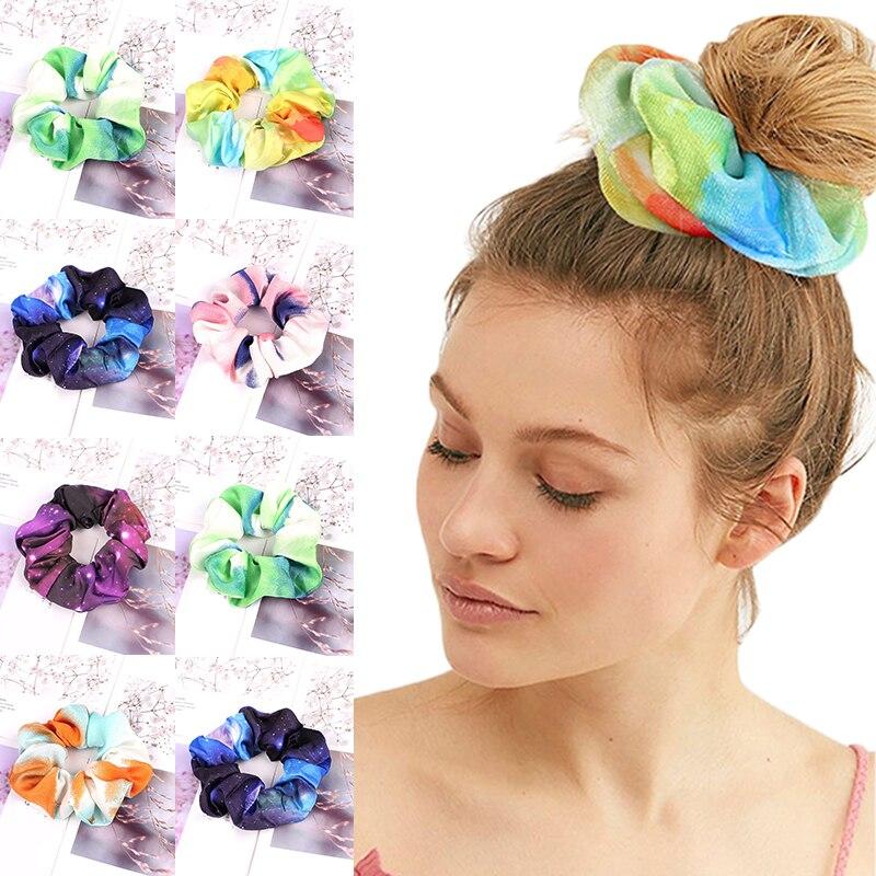 Starry Sky Tie-dye Print Chiffon Scrunchies Elastic Hair Bands Ties Ponytail Hair Rope Hairband Accessories Blue Purple Headwear