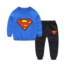 цена на Kids Clothes Set Super-Man Baby Boys Children Clothing Set Autumn Cotton Sport Suit Sweatshirt + Pants 2PCS Outfits Tracksuit
