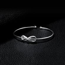 Sterling Silver Crown Infinity Love Bangles Bracelet Jewelry