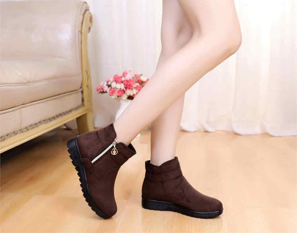 Kar Botları Kadın Kış Sıcak Kürk Bayan toka Platformu Kama Moda bileğe kadar bot Kadın Konfor rahat ayakkabılar Artı Boyutu st480