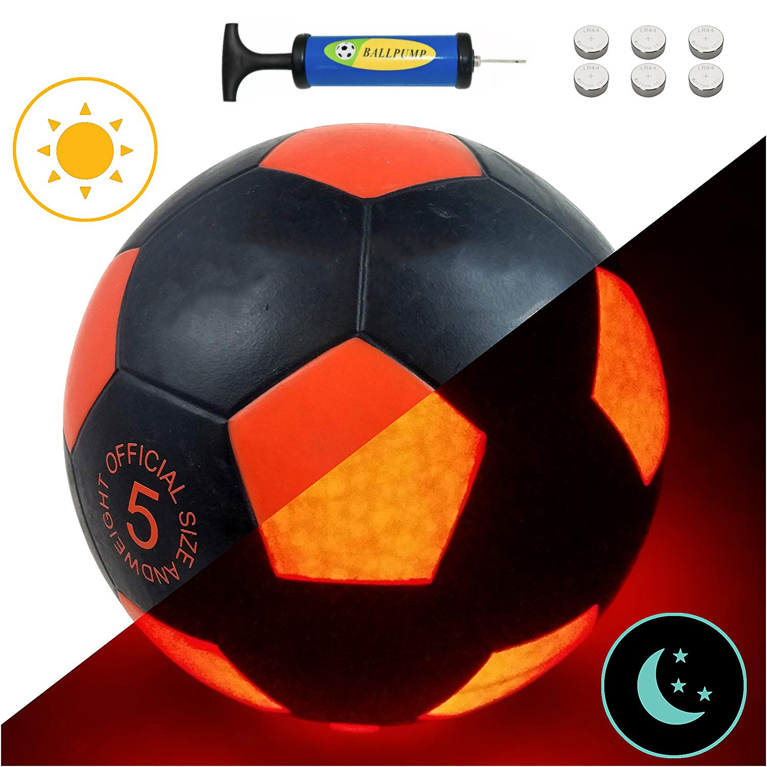Offical Size 5 Football Light Up LED Soccer Training Ball Blazing Red Edition Glows In The Dark Super Bright LED's Glowing Balls