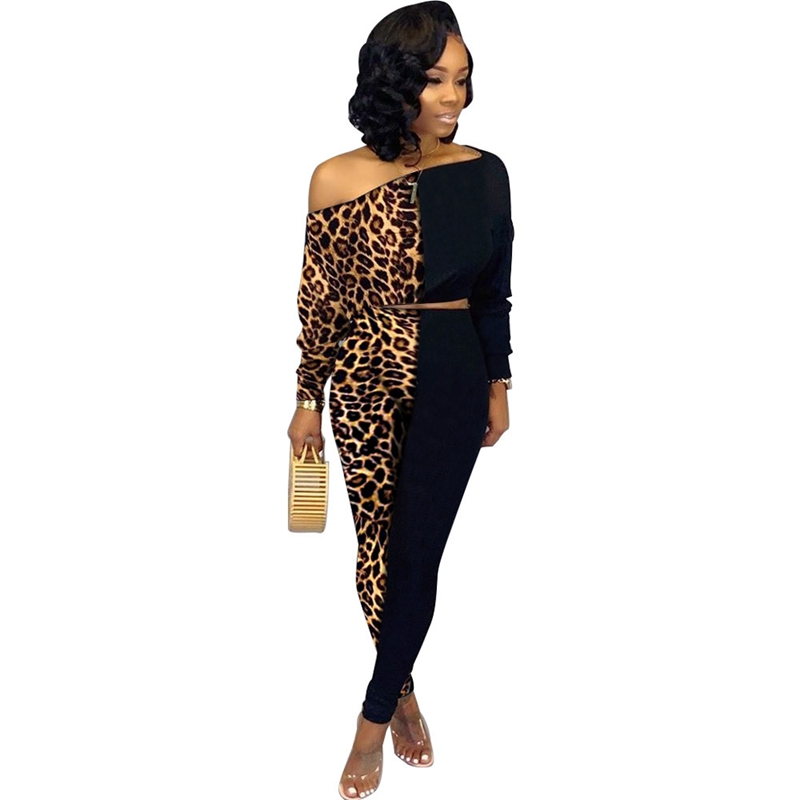 Plus Size Tracksuit Women Two Piece Set Top And Pants Fall Sexy Leopard Sweat Suits Women 2 Piece Outfits Casual Matching Sets