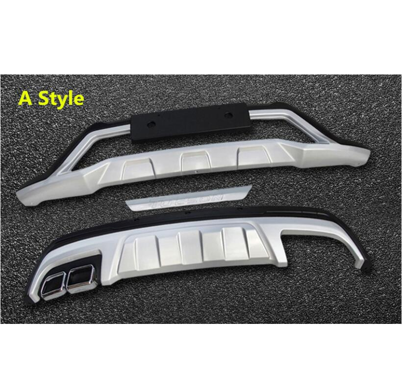 For Auto BUMPER GUARD For Hyundai Tucson 2015.2016.2017 High Quality Brand New ABS Guard Plate Front + Rear Car Accessories