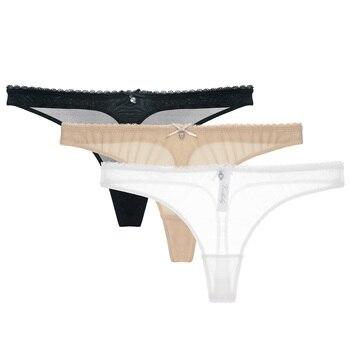 CYHWR Women's Sexy Sheer Panties Thong Mesh G-Strings Low Rise Brief Underwear, 3-Pack 1