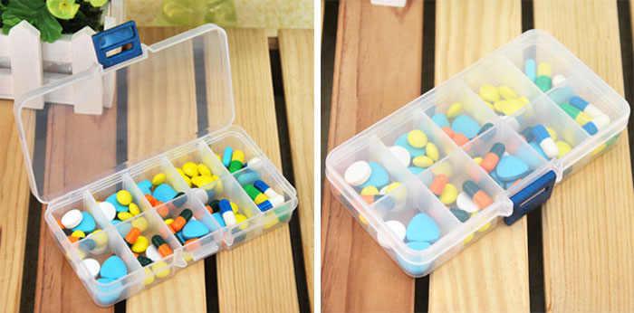1 Cái Nhựa 10 Lưới Hộp Lưu Trữ Khe Điều Chỉnh Được Đóng Gói Trong Suốt Đựng Dụng Cụ Thủ Công Tổ Chức Hộp Phụ Kiện Trang Sức