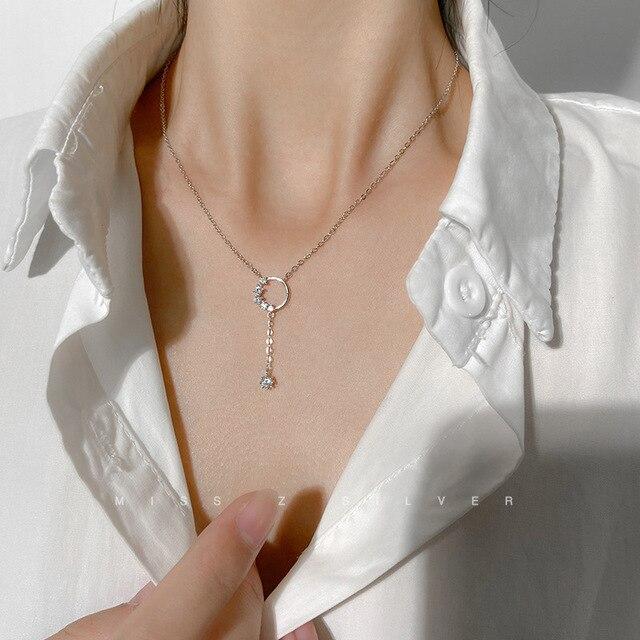 Simple 925 en argent Sterling collier AAA CZ mosaïque Zircon gland pendentifs collier pour les femmes collier de mariage Collares bijoux