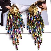 Déclaration à la main longue chaîne perlée boucles d'oreilles haute qualité coloré bijoux accessoires pour les femmes en gros
