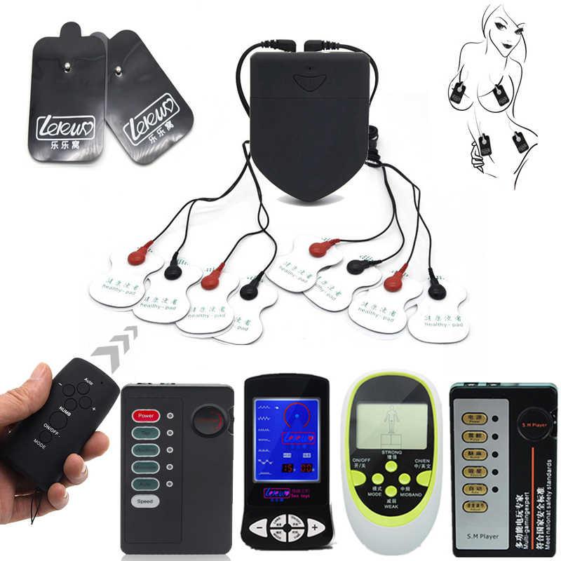 BDSM Sex Toys Draadloze Afstandsbediening Electro Shock Kit Elektrische Schok Stimulator Therapie Massager Pads Voor Machine Gezondheidszorg