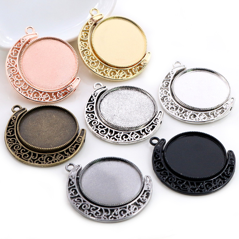 5pcs 18mm 25mm Inner Size Moon Rotation Double Side Antique Silver Plated 7 Colors Cameo Cabochon Base Setting Charms Pendant
