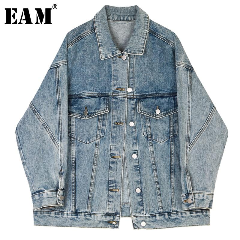 [EAM] Loose Fit Blue Split Joint Pocket Denim Big Size Jacket New Lapel Long Sleeve Women Coat Fashion Tide Spring 2020 1S260