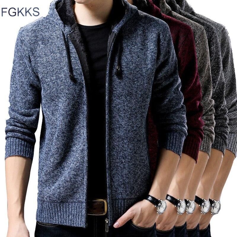 FGKKS Brand Men Knitting Sweaters Coat Casual Warm Men's Fashion Cardigan Sweater High Quality Male Hooded Wool Sweater Coat