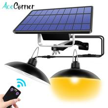 Acecorner Remote Control Double Head Solar Pendant Light Outdoor Indoor Solar Lamp Lighting Lamp for Camping Home Garden Yard