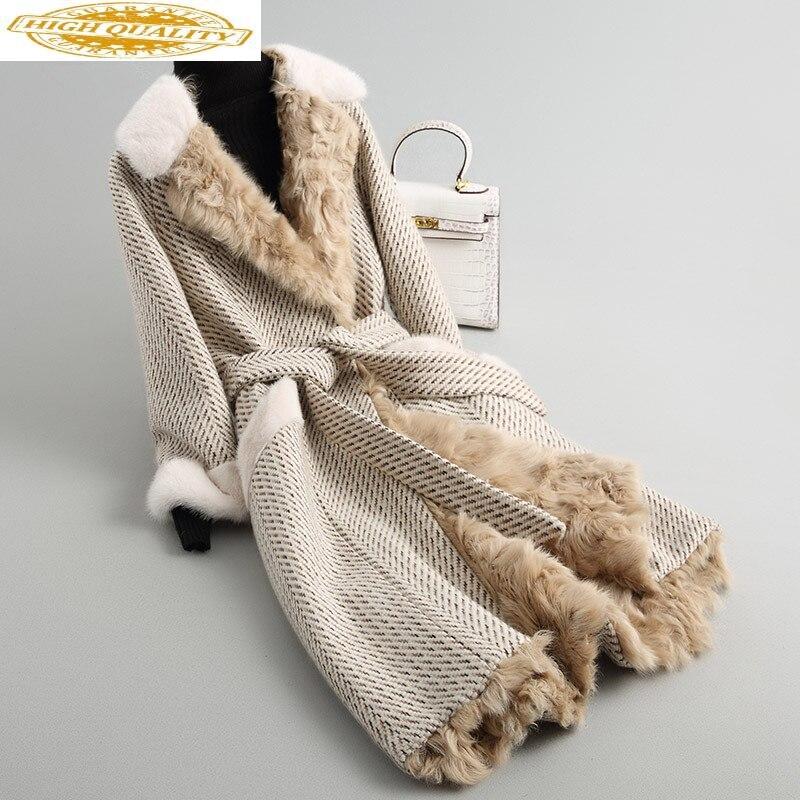 2020 Women's Fur Coat Long Tweed Wool Blends Winter Jacket Women Natural Mink Fur Collar Real Lamb Fur Coats 68214
