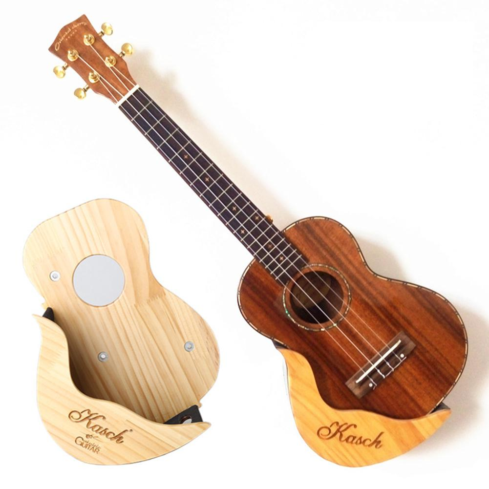 Pine Wood Ukulele Wall Mount Holder Wooden Ukelele Wall Frame Stand Shelf for 21/23/26/28 Ukulele Guitar Display image