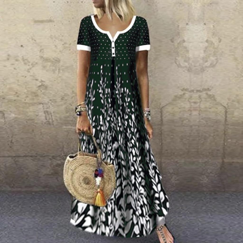WomenSummer Vintage Women Loose Contrast Floral Dot Printed Buttons Short Sleeves V Neck