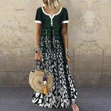 Long Dress Maxi V-Neck Vestidos Loose Casual Women Fashion Short-Sleeves Contrast-Printing