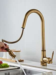 Kitchen Faucets Taps Pull-Down-Mixer Cold-Sink Antique Swivel Bronze Hot ELM902AB 360-Degree