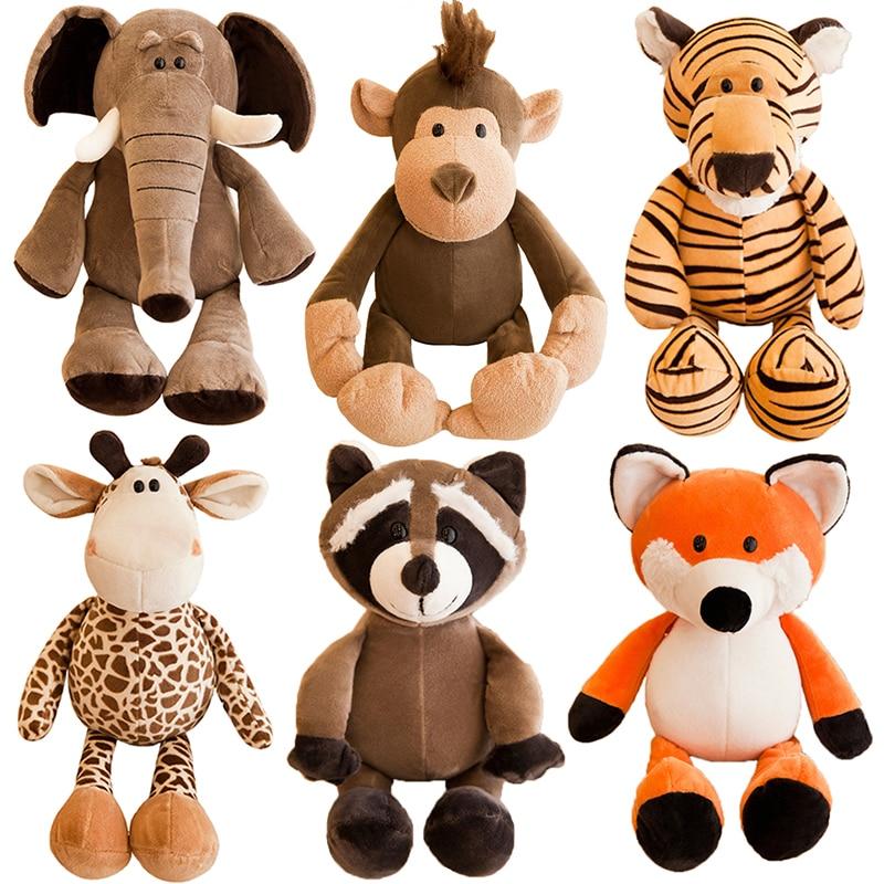 25cm Cute Stuffed Animals Plush Toy Raccoon Elephant Giraffe Fox Lion Tiger Monkey Dog Plush Animal Toy For Children'S Soft Toys(China)