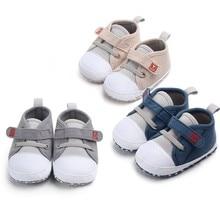 Обувь для новорожденных, весенние кроссовки для маленьких мальчиков и девочек, хлопковая спортивная мягкая обувь для первых шагов, нескользящая детская обувь для 0-18 месяцев