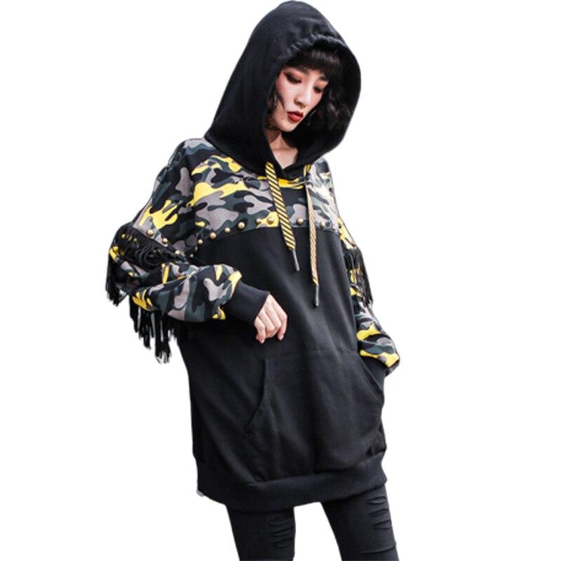 Manches longues Camouflage hip-hop glands marée lâche manteau Harajuku Kpop Riverdale Exo étranger choses aventure temps Bts Hoodies