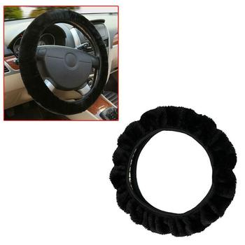 Winter Thicken Short Plush Car Steering Wheel Cover Universal Steering Braid Easy Size Install Fluffy /Warm Wheel to E6G5 image