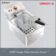 HY81/HY82 electric fryer single tank/double tank 6L/12L deep oil fryer with basket stainless steel chicken chips frying machine df5g free standing electric temperature controlled commercial deep donut large capacity chicken chip fish fryer with basket