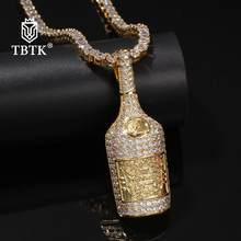 TBTK New Trendy Silver Iced Out Wine Bottle Pendant Necklace Unisex Punk Street Style Crystal Charms Jewelry 2019 Hiphop(China)