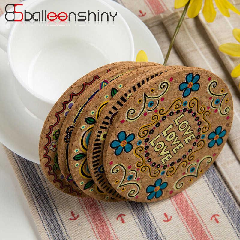 Balleenshiny retro redonda esteira de mesa anti deslizamento bebida coasters isolados placemats sólidos não deslizamento esteira da cozinha ferramenta para decoração casa