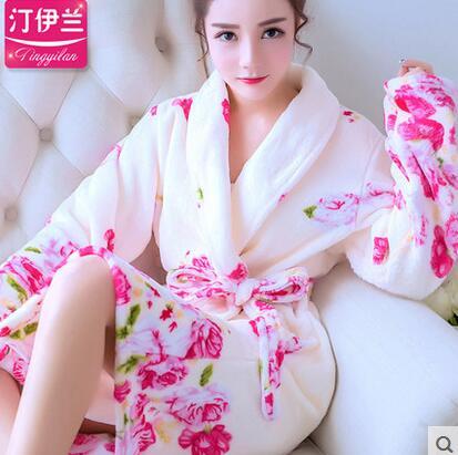 Couples Coral Fleece Robe Girls Warm Flannel Pajamas Women Thickened Long Sleeve Bathrobe Men Coral Fleece Homewear Female