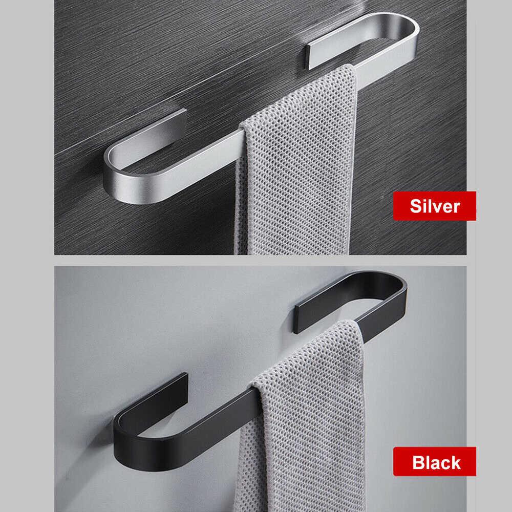 Wielofunkcyjna solidna przestrzeń aluminium czarny wieszak na ręczniki pojedynczy wieszak na ręczniki łazienka matowy czarny ścienny uchwyt na ręczniki 25/45 Cm