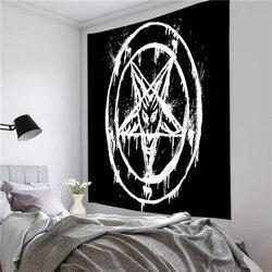 Новый пентаграммный флаг сатаны Таро гобелен с черной кошкой настенный ручной декор хиппи Луна волк ведро гобелены настенное одеяло