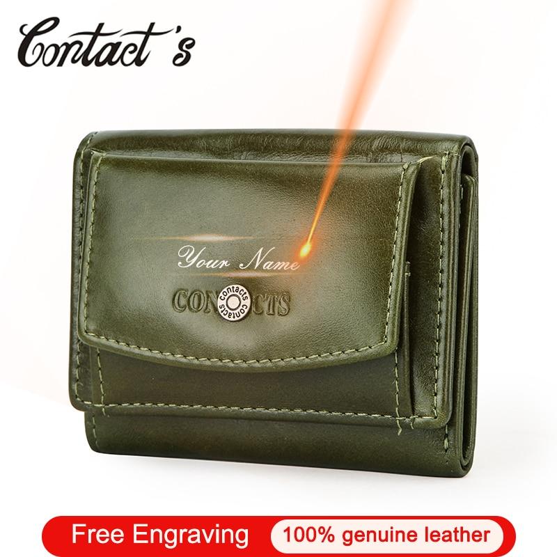 Contact's Women Wallet 100% Genuine Leather Clutch Female Mini Walets Fashion Card Holder Portomonee Money Bag Coin Purse Small