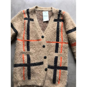 Image 5 - Vintage Synthetic Mink Cashmere Sweater Women Harajuku Lazy Style Ladies V Neck Button Up Cropped Fuzzy Plaid Cardigan Knitted