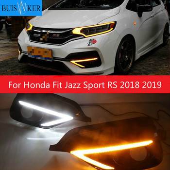 1Pair For Honda Fit Jazz Sport RS 2018 2019 Turn Yellow Signal Relay Waterproof Car DRL 12V LED Daytime Running Light Fog Lamp