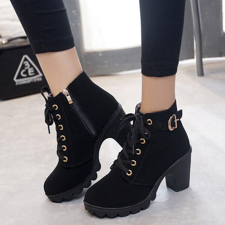 Ботильоны размера плюс; женские ботинки на платформе и высоком каблуке; обувь с пряжкой; короткие ботинки на толстом каблуке; женская обувь; ...