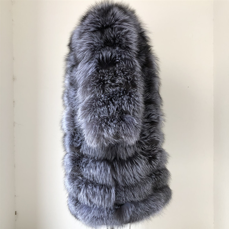 100% Natural Real Fox Fur Coat Women Winter Genuine Vest Waistcoat Thick Warm Long Jacket With Sleeve Outwear Overcoat plus size 37