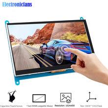 7 polegada lcd display hdmi-compatível com tela de toque 1024x600 resolução ips capacitivo tela de toque sistemas de suporte para raspberry pi