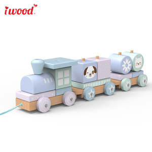 Natural Wooden Toys Wood Train Stacking Blocks For Baby Toddler Gift