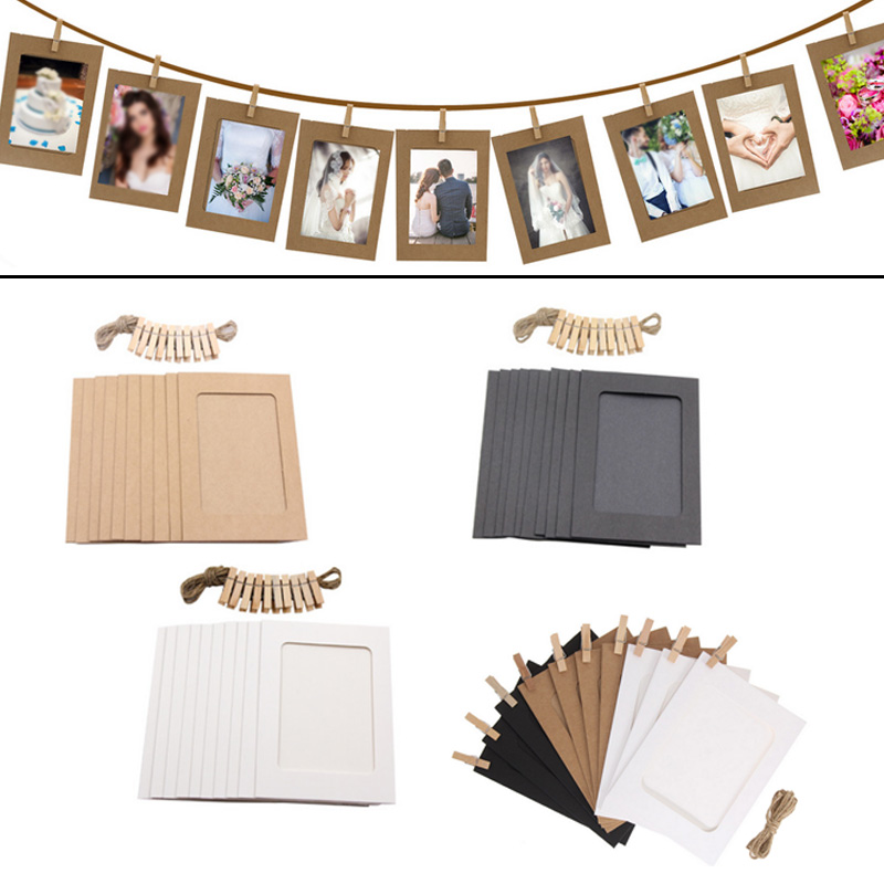 10PCS DIY Photo Frame Wooden Clip Paper Picture Holder Wall Decoration For Wedding Baby Shower Birthday Party Photo Booth Props