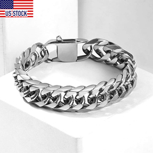 10/15mm Mens Bracelet 316L Stainless Steel Heavy Silver Color Double Curb Cuban Link Rombo Chain Bangles Male Jewelry DHB289A