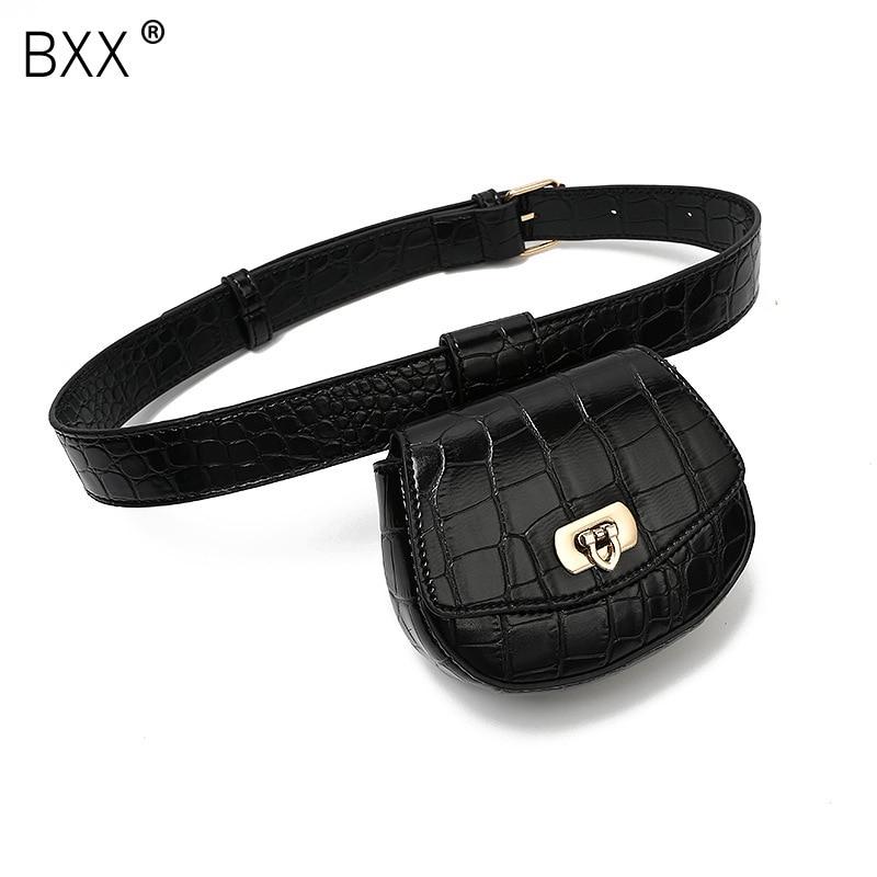 [BXX] Women's Bag All-match Flap 2020 Autumn Brand Designer Belt Removable Decoration Crocodile Grain Waist Chest Bag HI149