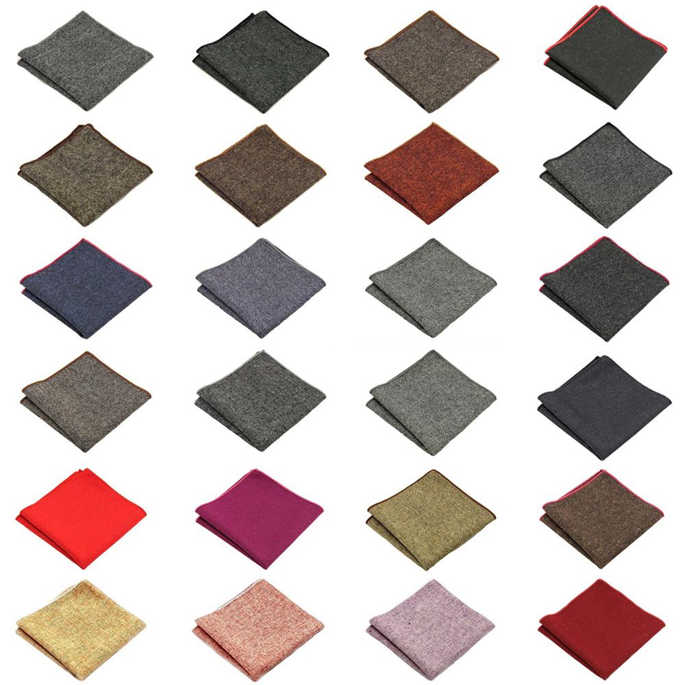 Men High Quality Wool Cotton Pocket Square Wedding Party Handkerchief Hanky BWTQN0305