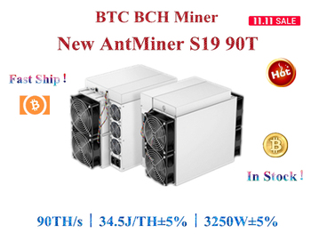 Free shipping New BTC BCH Miner AntMiner S19 90T 3150W±5% Better than S9 T19 S17 S17e M31S M30S M21S M20S T3 A10 pro 500M 1
