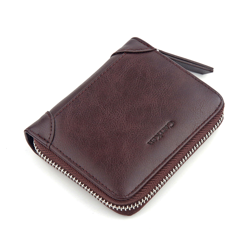 New Mens Retro Zipper Coin Purse Wallet Solid Color Casual Rero Front Pocket Wallet Short Bifold Purse For Male Card Holder